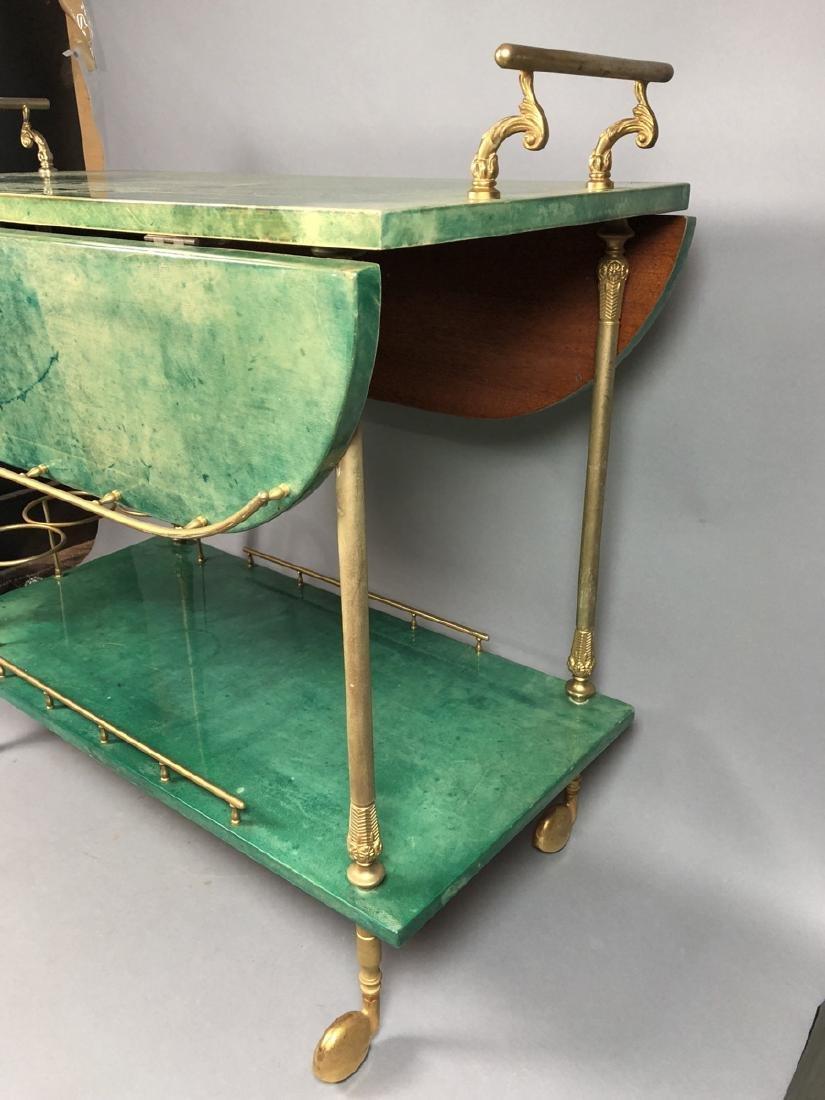 ALDO TURA Green Lacquered Goatskin Bar Cart. Ital - 3