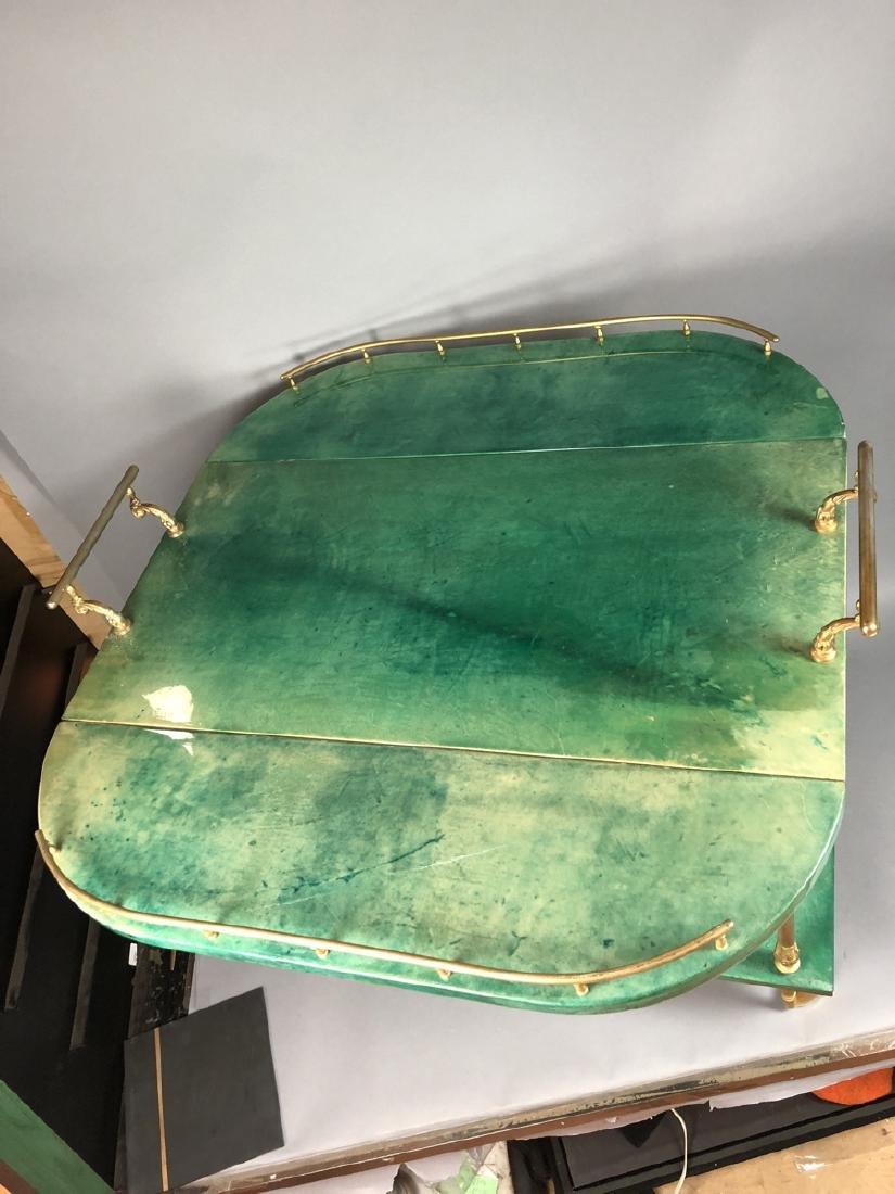 ALDO TURA Green Lacquered Goatskin Bar Cart. Ital - 5