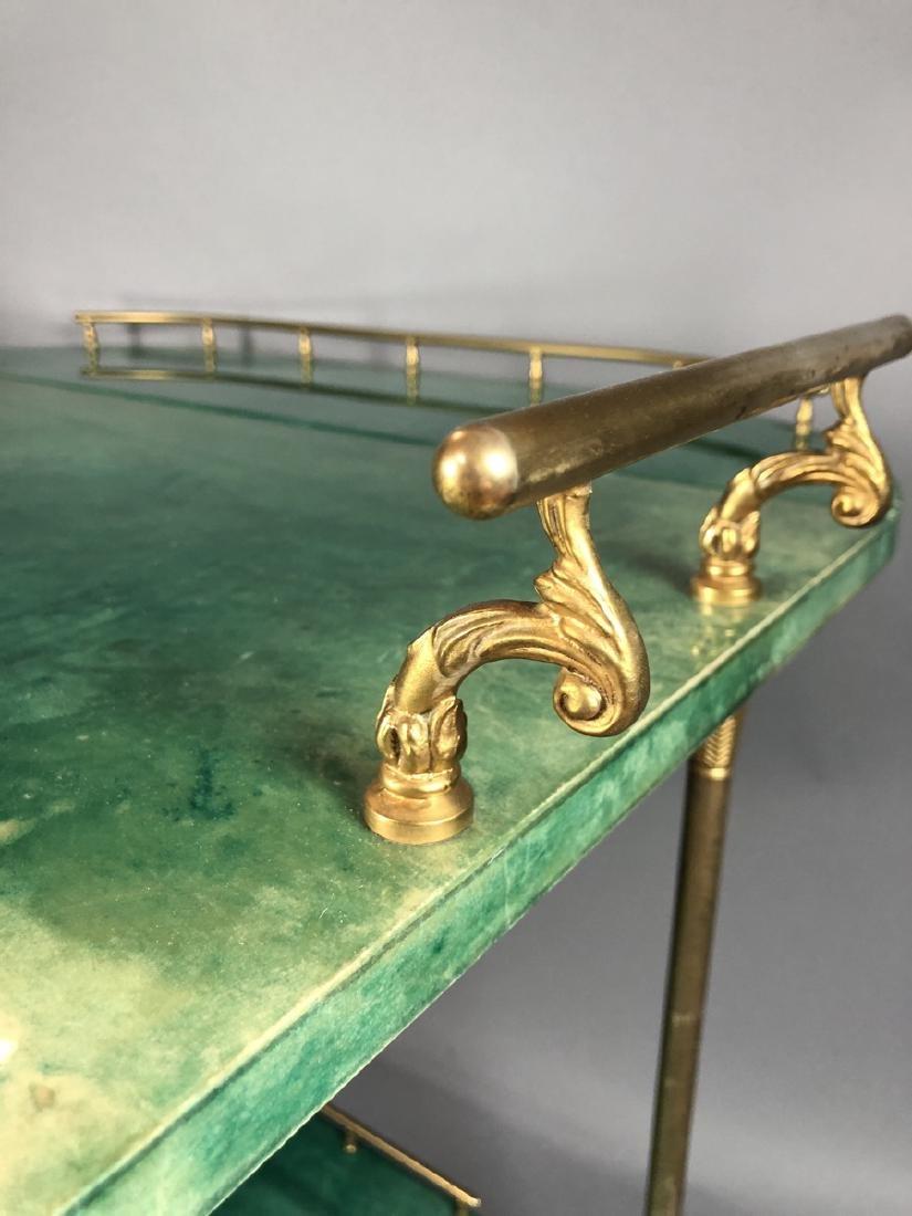 ALDO TURA Green Lacquered Goatskin Bar Cart. Ital - 6
