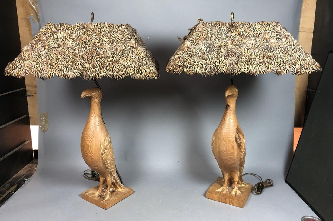 Pr Carved Wood Modernist Figural Bird Lamps. Eleg