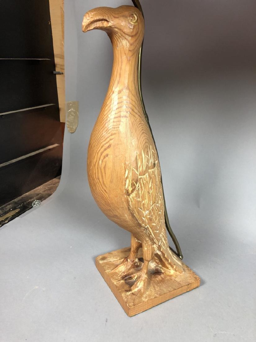 Pr Carved Wood Modernist Figural Bird Lamps. Eleg - 2