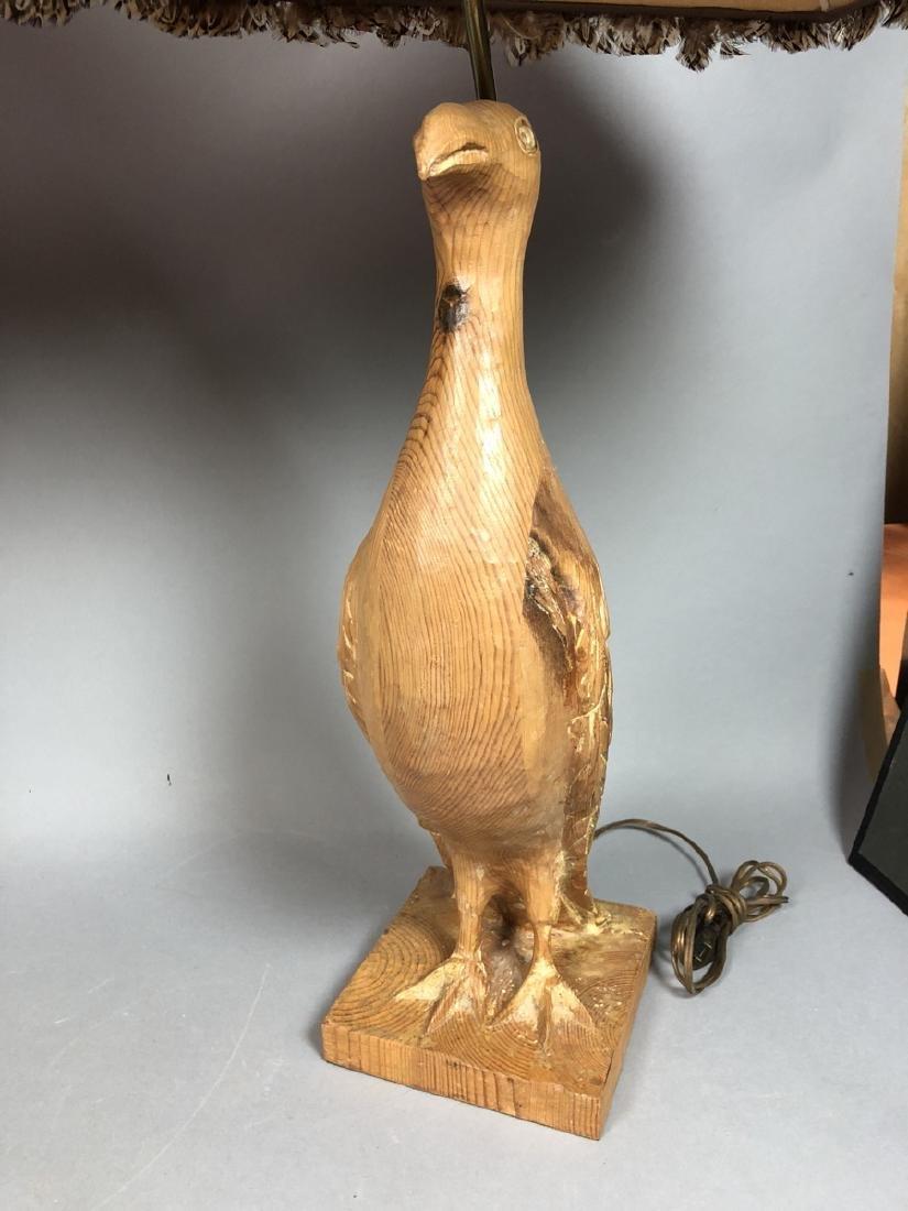Pr Carved Wood Modernist Figural Bird Lamps. Eleg - 3