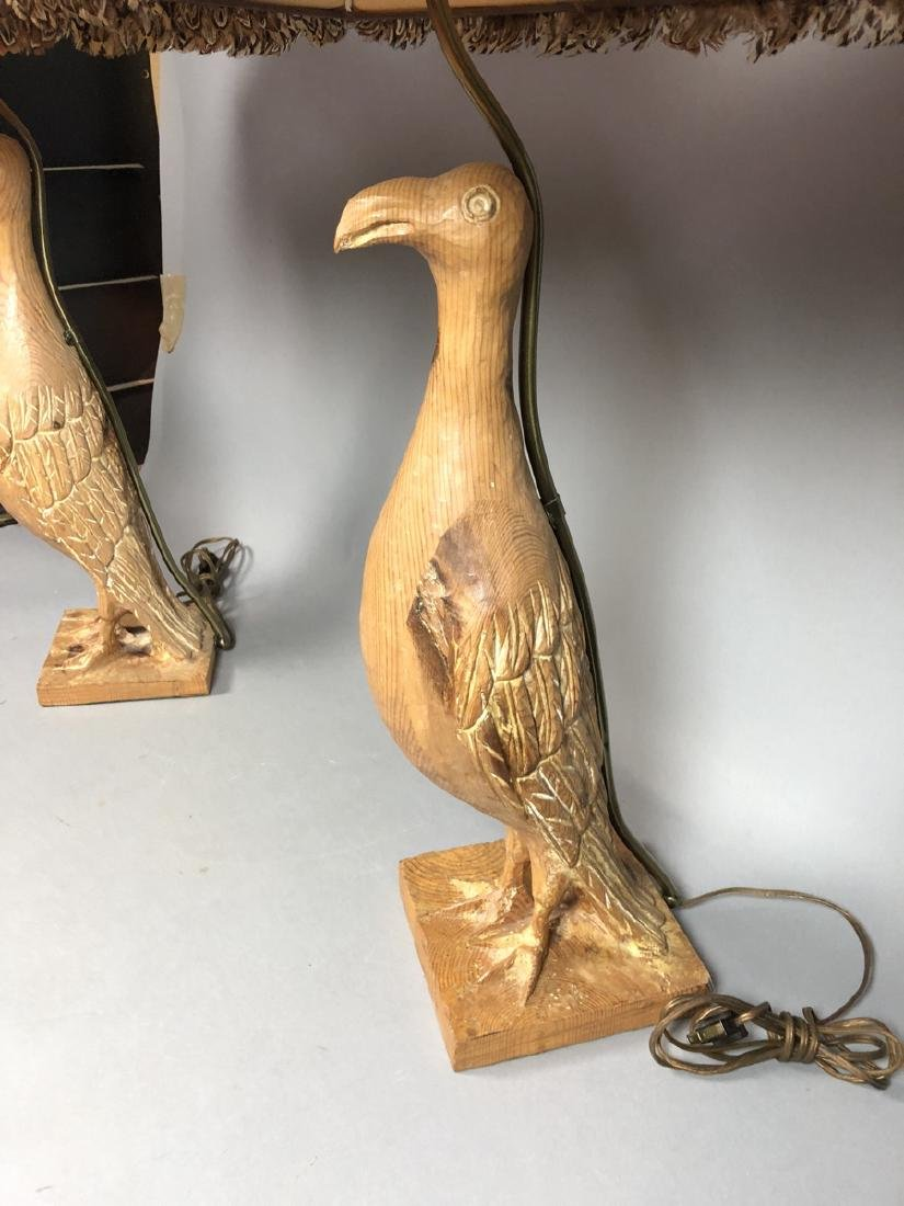 Pr Carved Wood Modernist Figural Bird Lamps. Eleg - 4