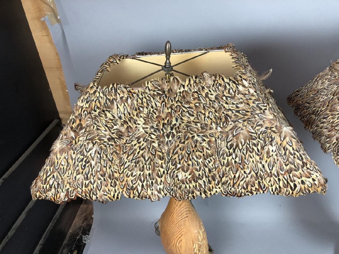 Pr Carved Wood Modernist Figural Bird Lamps. Eleg - 6