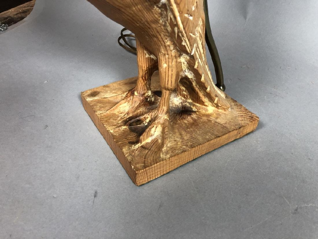 Pr Carved Wood Modernist Figural Bird Lamps. Eleg - 7