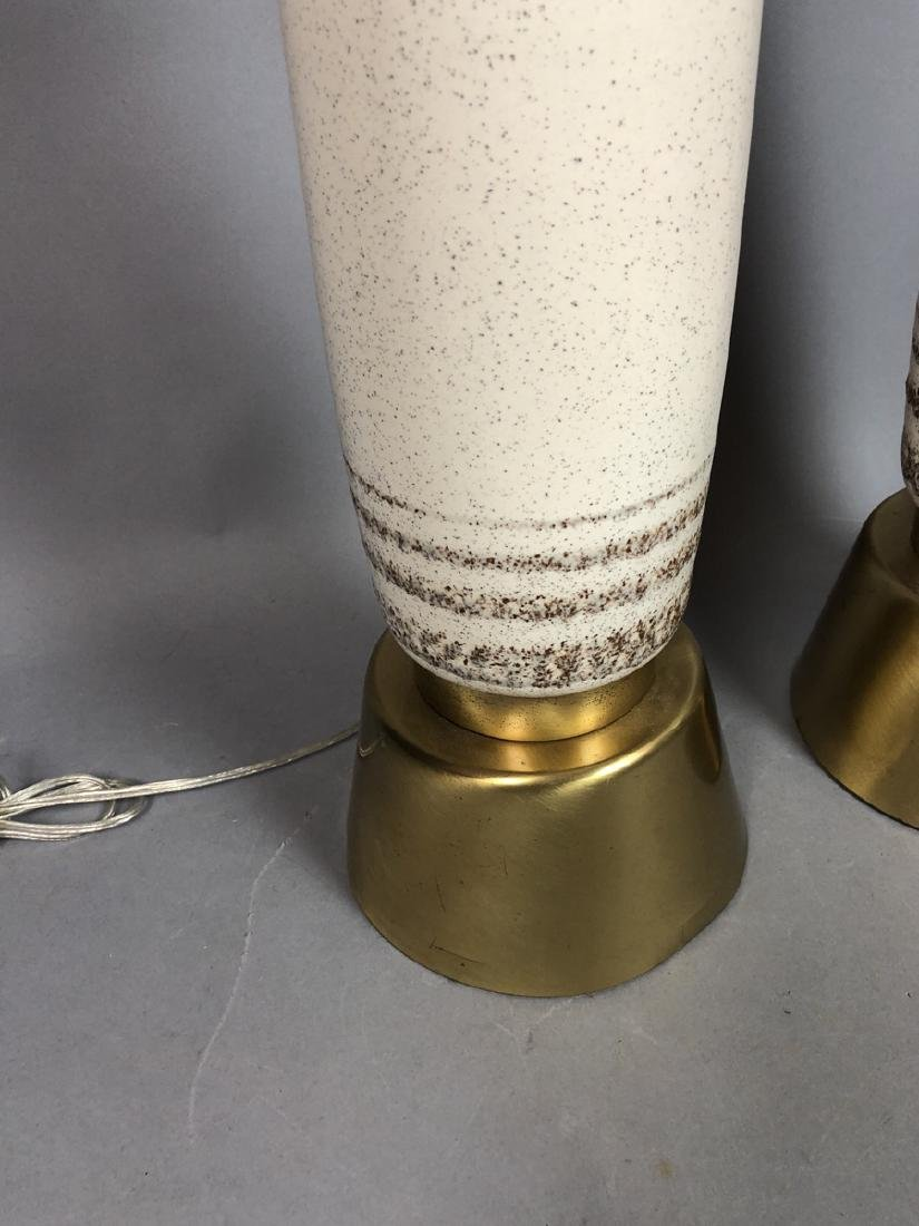 Pr Tall Brass & Ceramic Table Lamps. Speckled egg - 3