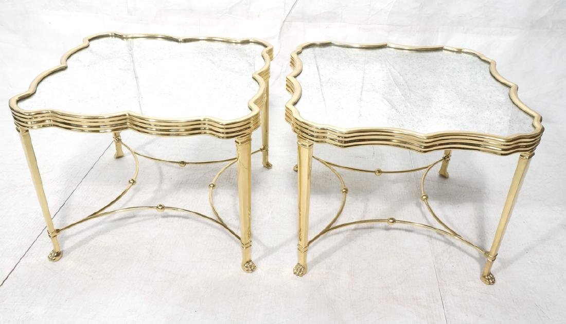 Pr Mirror Top Brass Decorator  End Tables. Ribbed