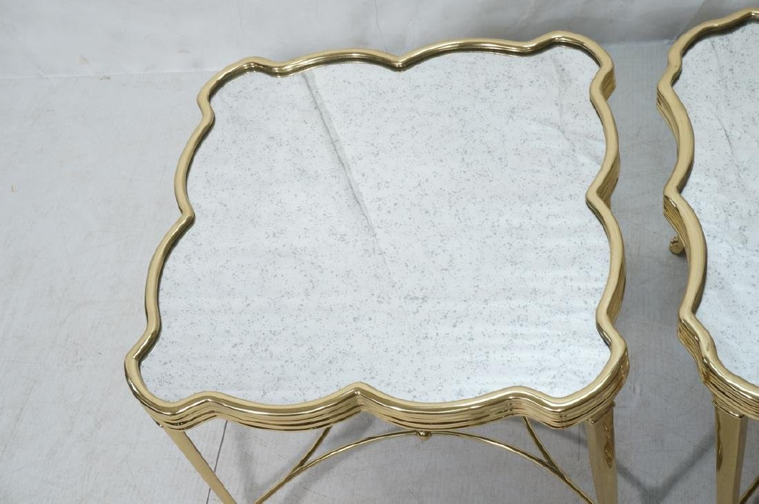 Pr Mirror Top Brass Decorator  End Tables. Ribbed - 2