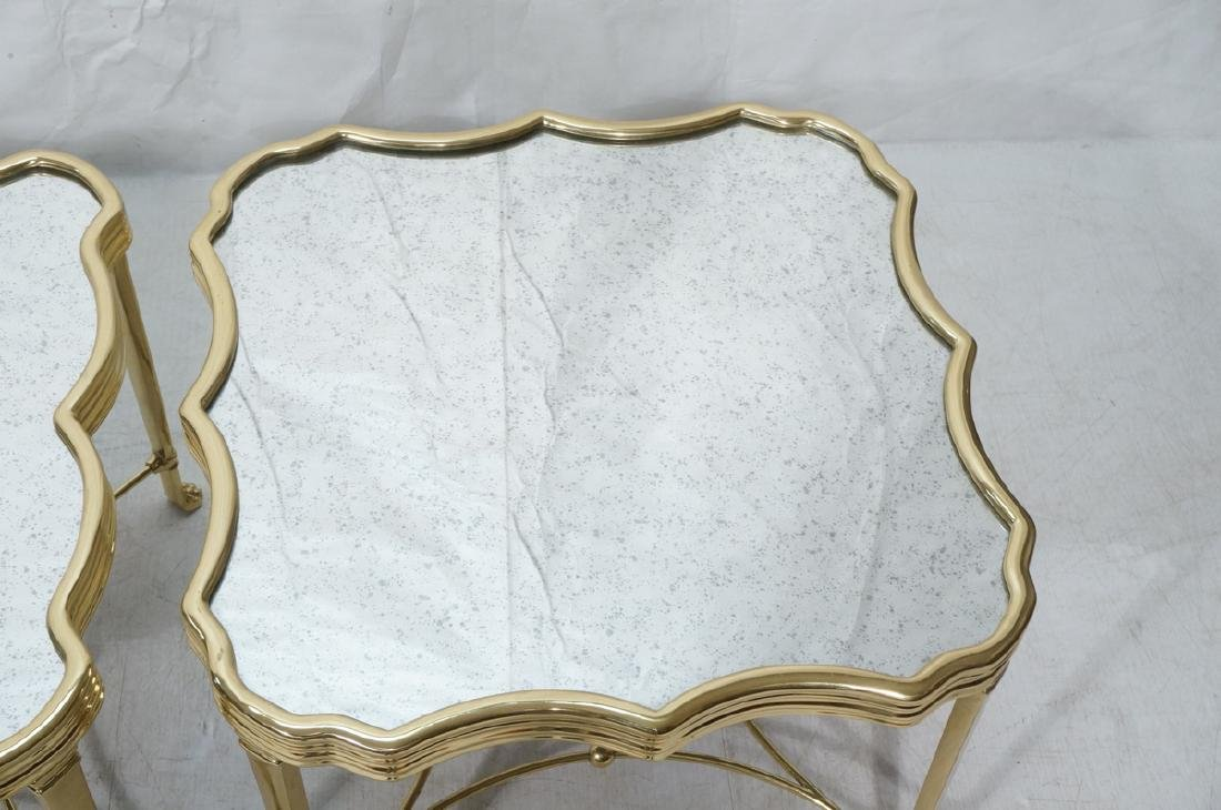 Pr Mirror Top Brass Decorator  End Tables. Ribbed - 3