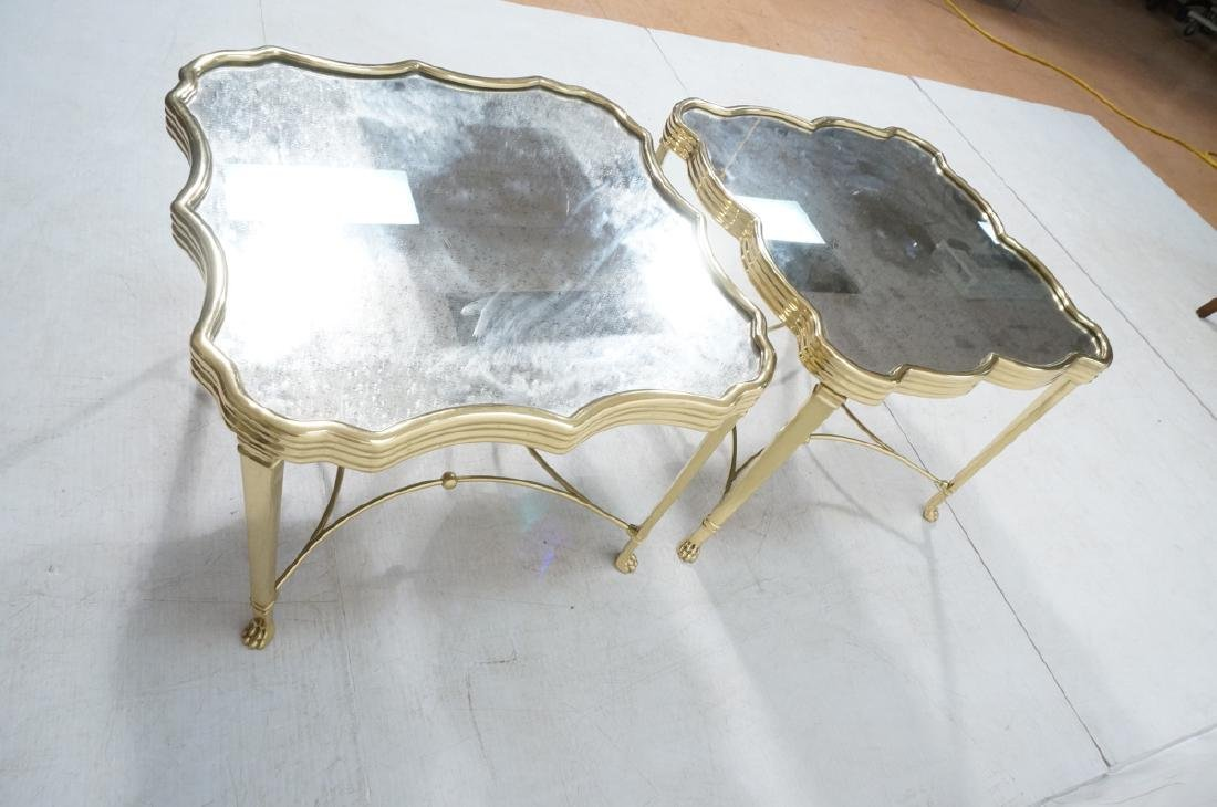 Pr Mirror Top Brass Decorator  End Tables. Ribbed - 6