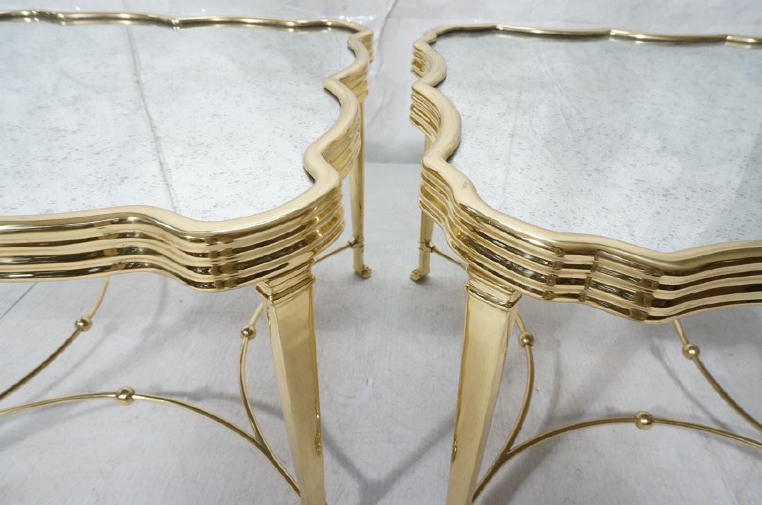 Pr Mirror Top Brass Decorator  End Tables. Ribbed - 7