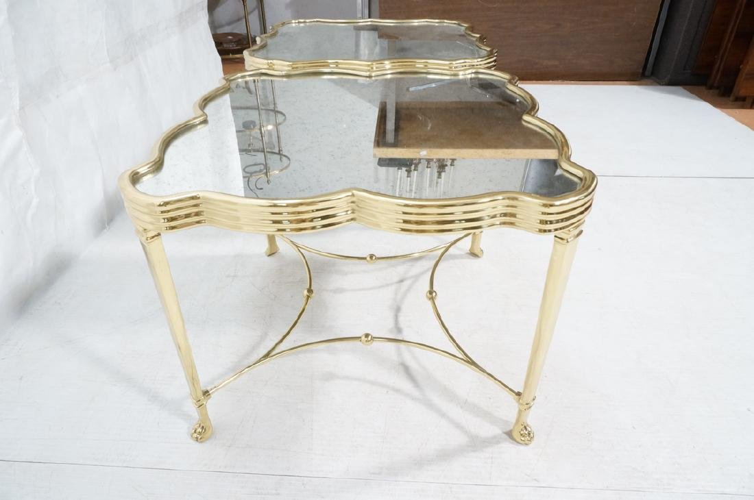 Pr Mirror Top Brass Decorator  End Tables. Ribbed - 8
