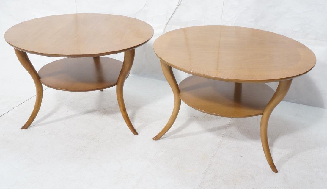 Pr ROBSJOHN GIBBINGS Round Walnut Side Tables. Sa