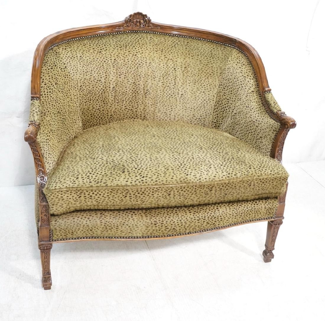Carved Frame Real Fur Hide Love Seat. Fur upholst