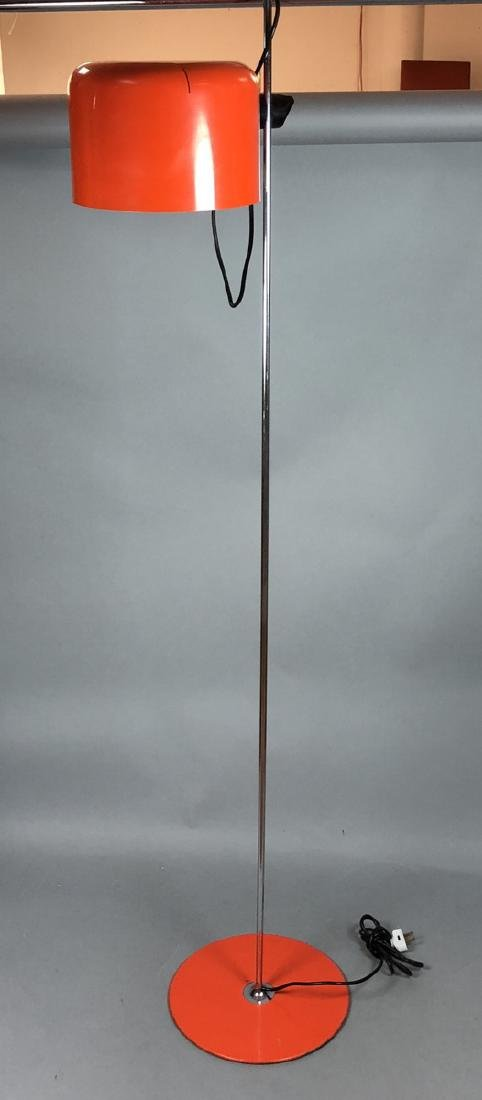 JOE COLUMBO Orange Enamel Floor Lamp. Chrome tube