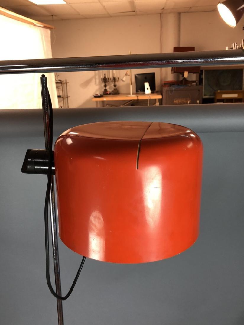 JOE COLUMBO Orange Enamel Floor Lamp. Chrome tube - 2
