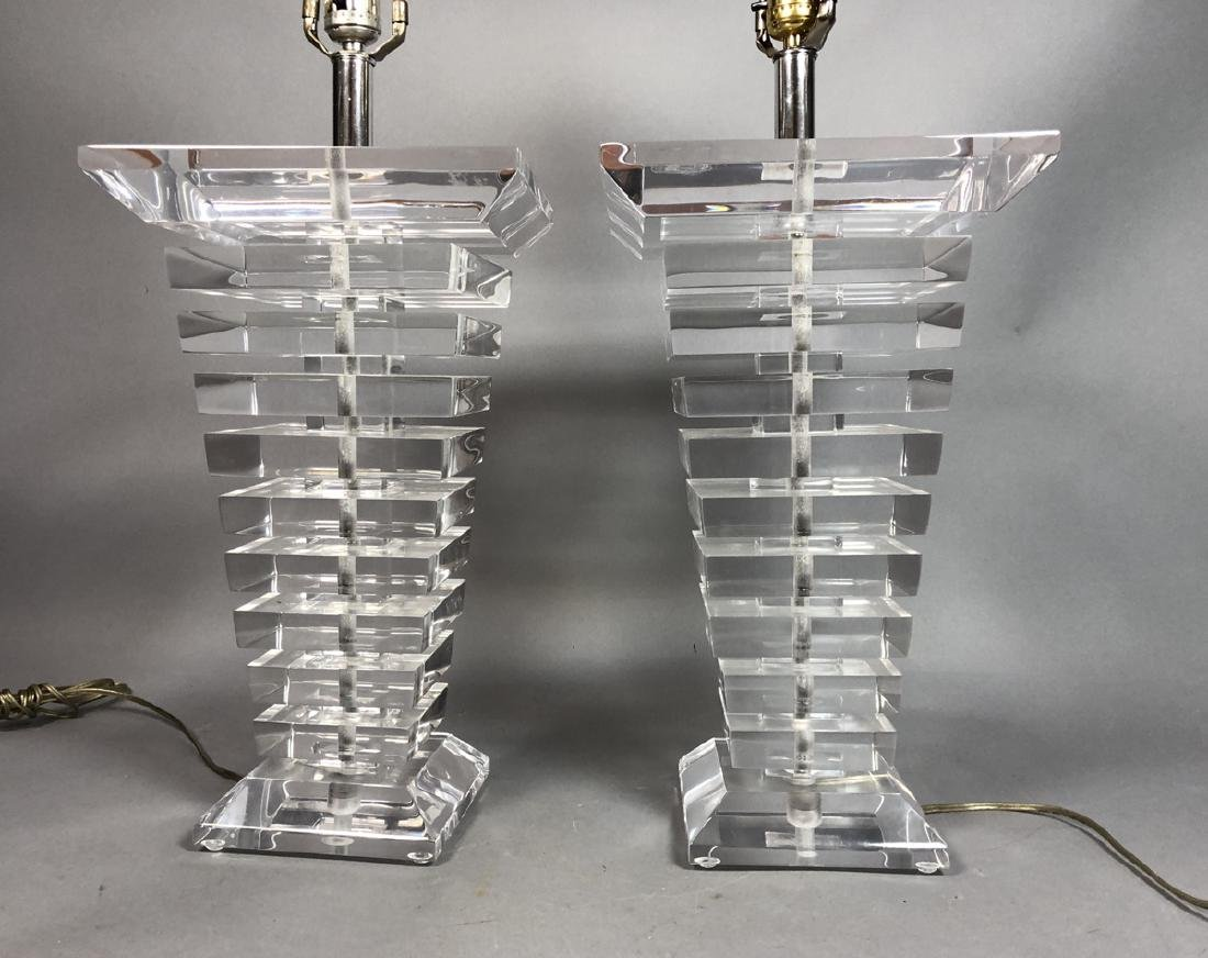 Pr Tapered Stacked Lucite Table Lamps. Tapered sq