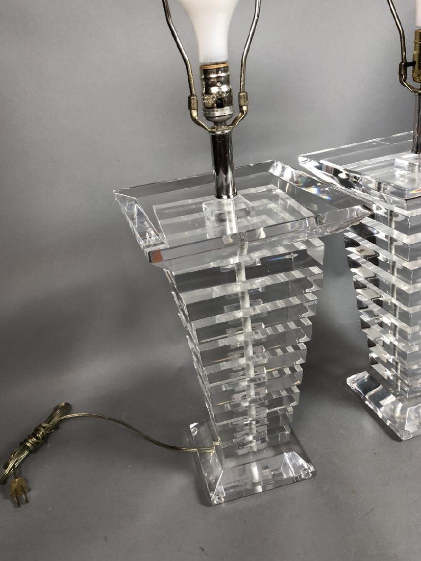 Pr Tapered Stacked Lucite Table Lamps. Tapered sq - 2