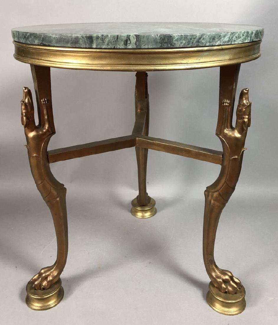 P.E. GUERIN Style Bronze Marble Side Table. Round