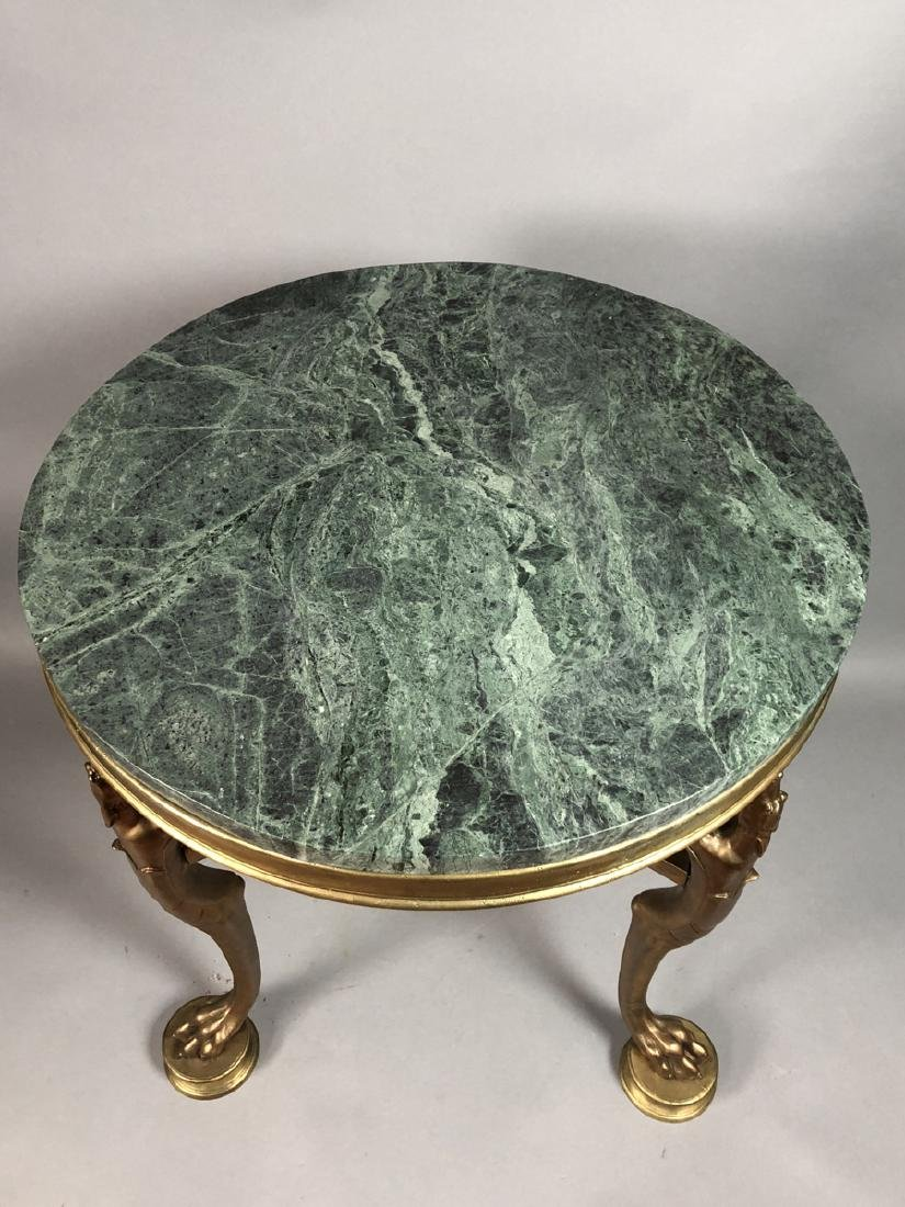 P.E. GUERIN Style Bronze Marble Side Table. Round - 2