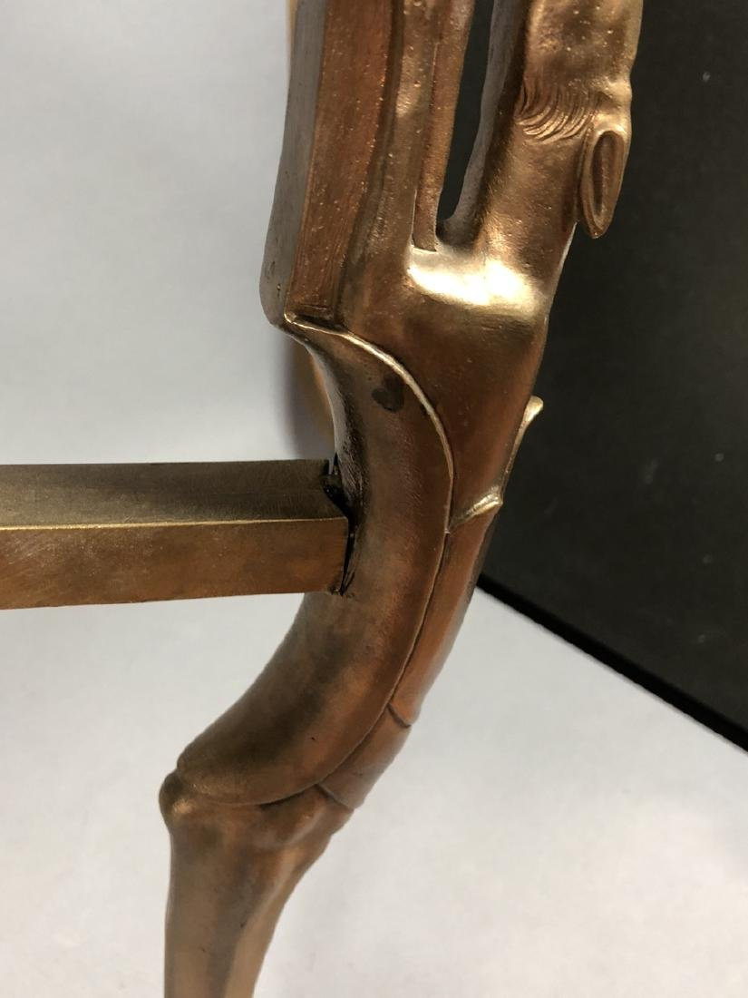 P.E. GUERIN Style Bronze Marble Side Table. Round - 7