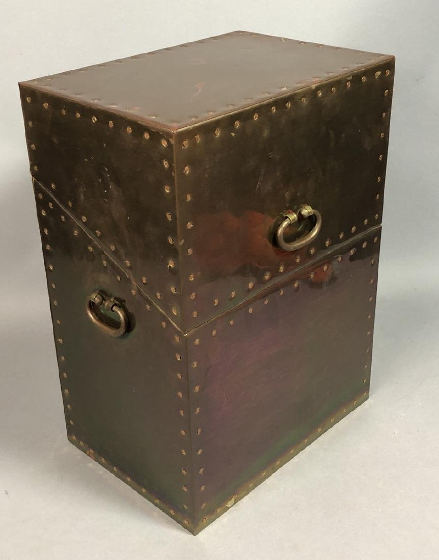 Antiqued Brass Hinged Lid Box. Tall brass case wi