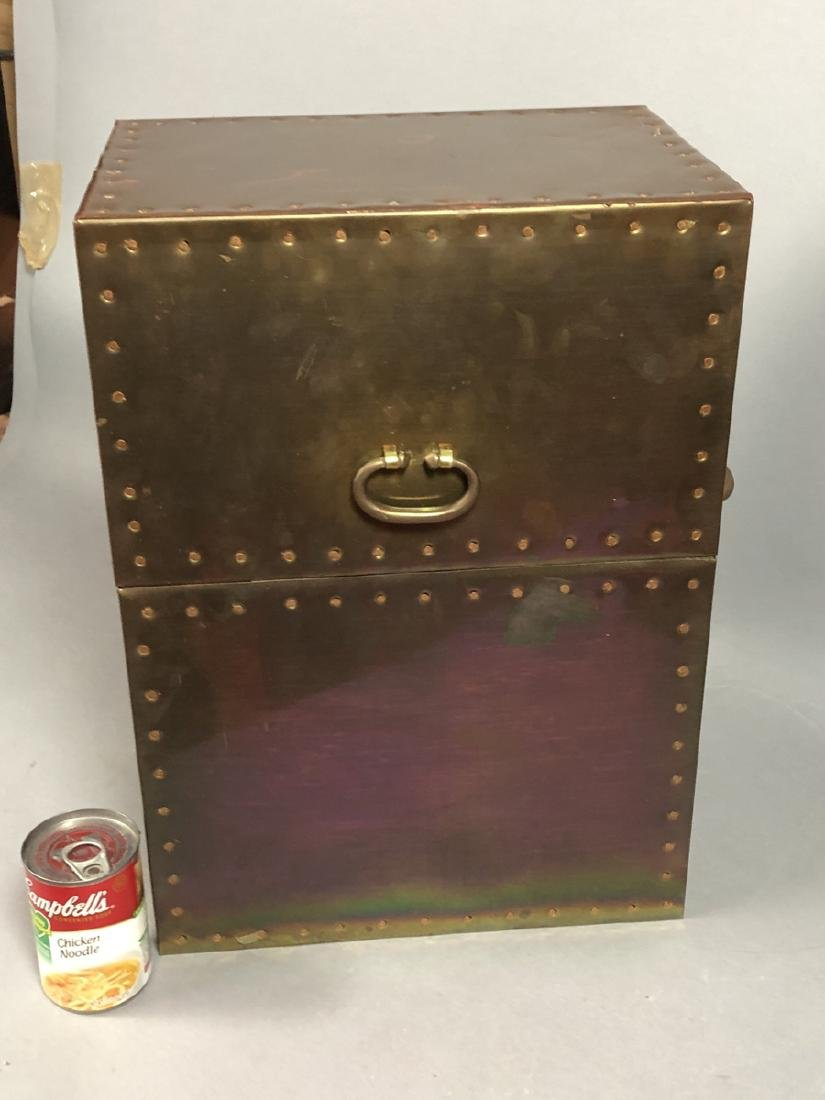 Antiqued Brass Hinged Lid Box. Tall brass case wi - 2