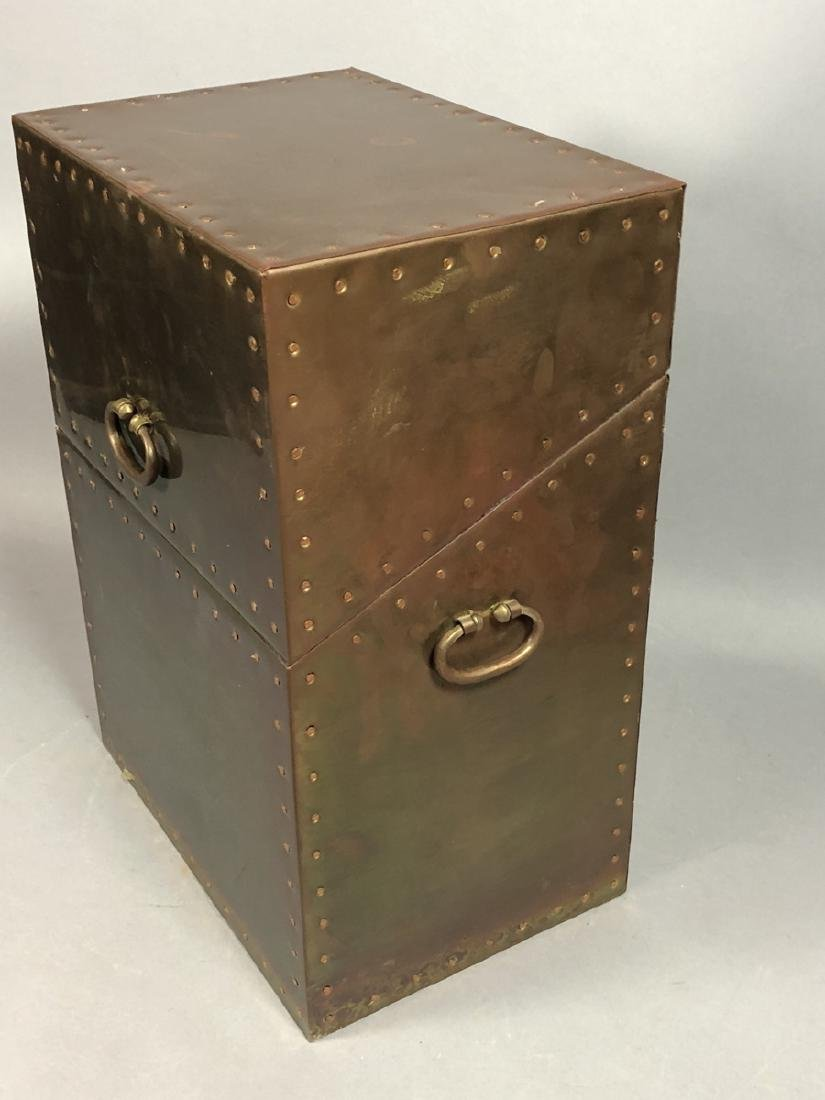 Antiqued Brass Hinged Lid Box. Tall brass case wi - 3