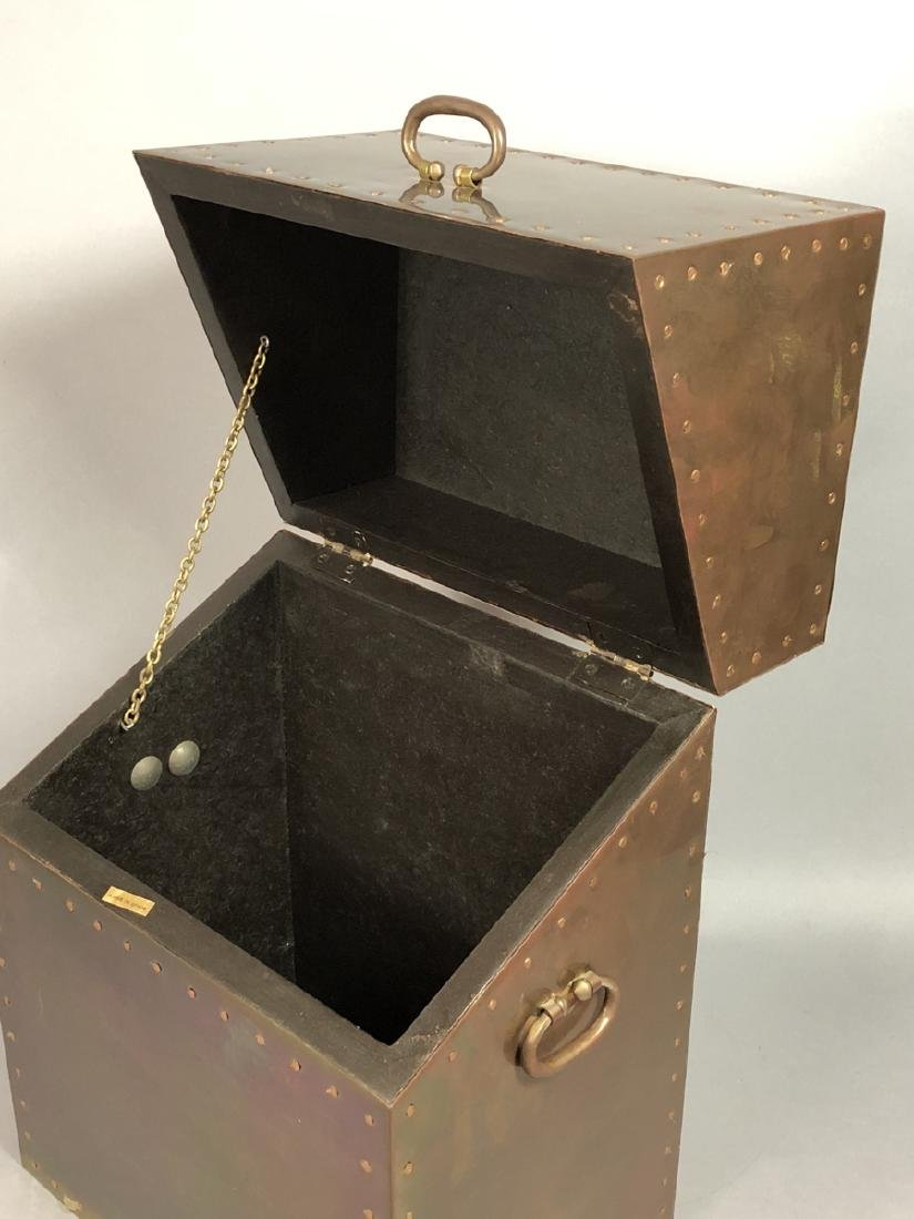 Antiqued Brass Hinged Lid Box. Tall brass case wi - 4