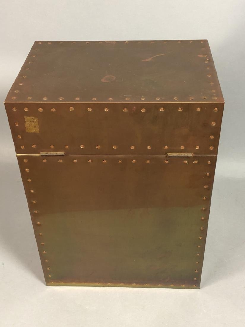 Antiqued Brass Hinged Lid Box. Tall brass case wi - 6