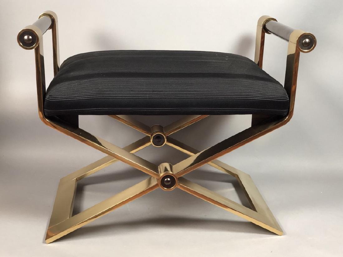 KARL SPRINGER Regency Style Brass Stool Bench. He