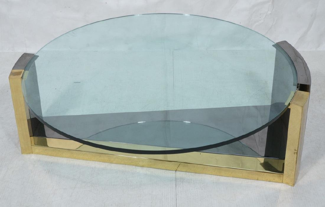Modernist Round Glass 2 Tone Metal Cocktail Table
