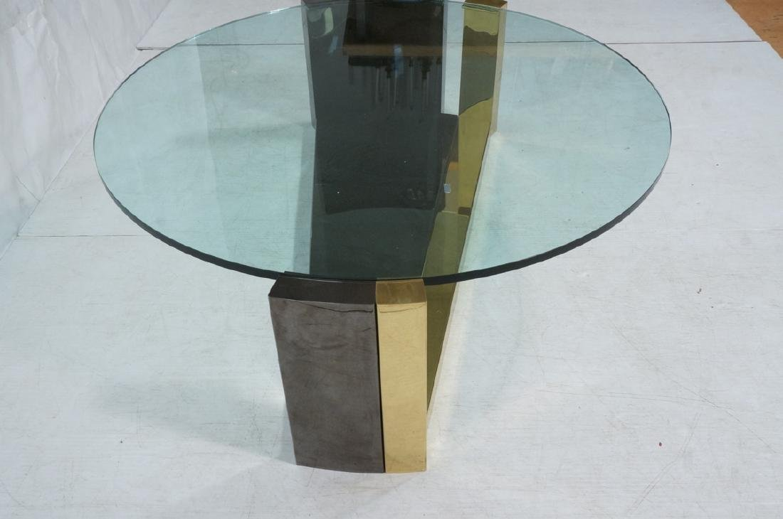 Modernist Round Glass 2 Tone Metal Cocktail Table - 2