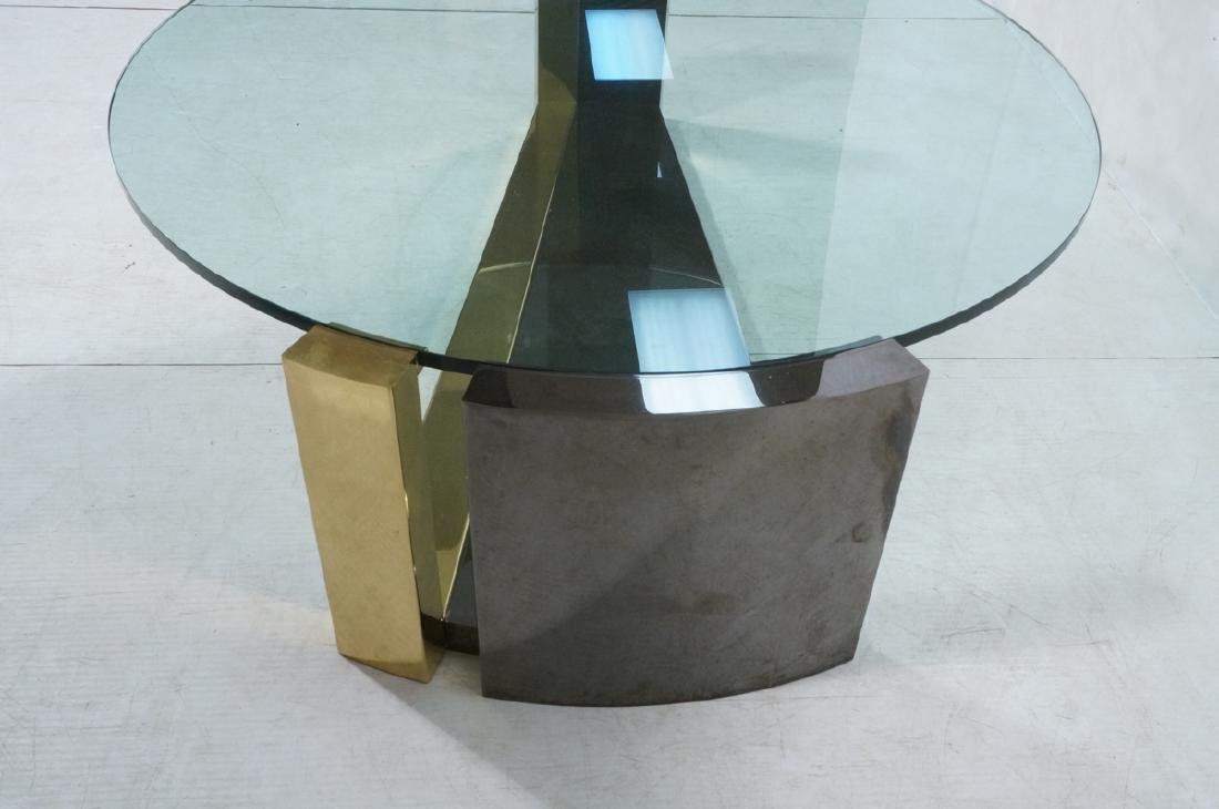 Modernist Round Glass 2 Tone Metal Cocktail Table - 3