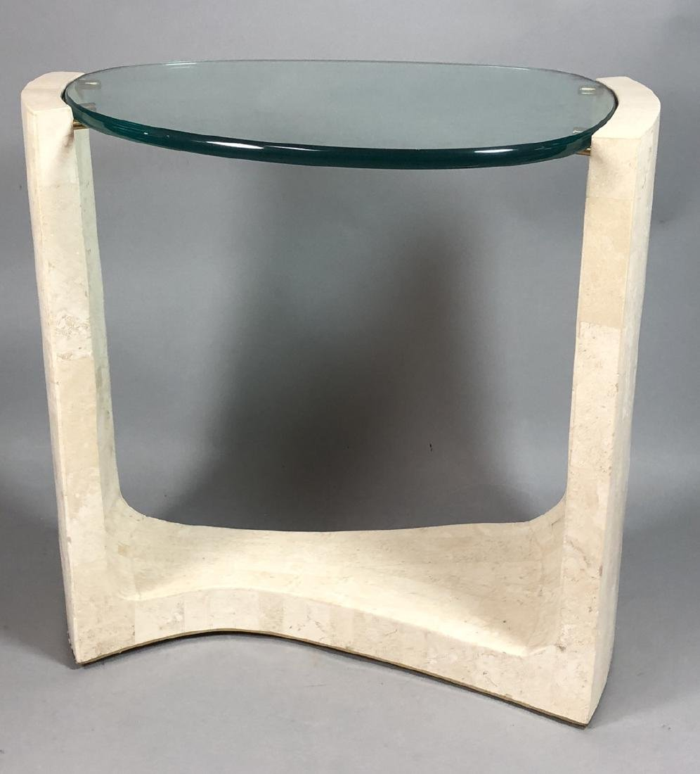 Modern Travertine Marble Tesserae Glass Top Table