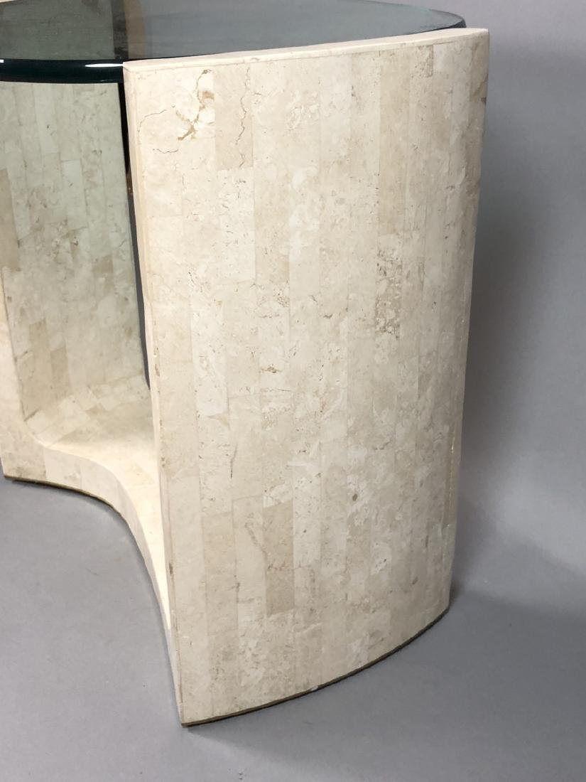 Modern Travertine Marble Tesserae Glass Top Table - 4