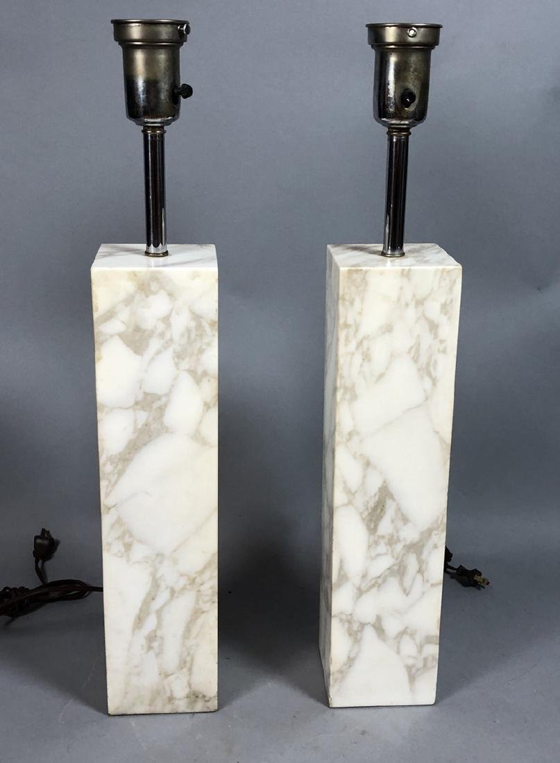 Pr ROBSJOHN GIBBINGS   Marble Column Table Lamps.