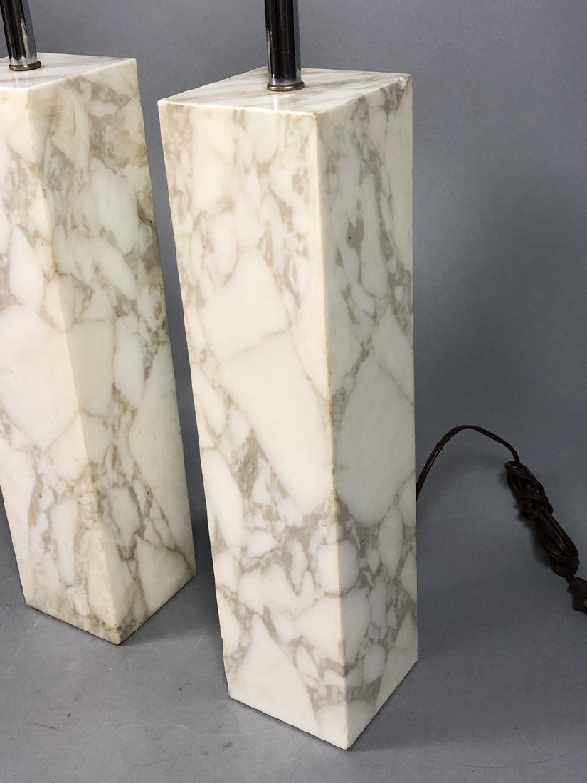 Pr ROBSJOHN GIBBINGS   Marble Column Table Lamps. - 3