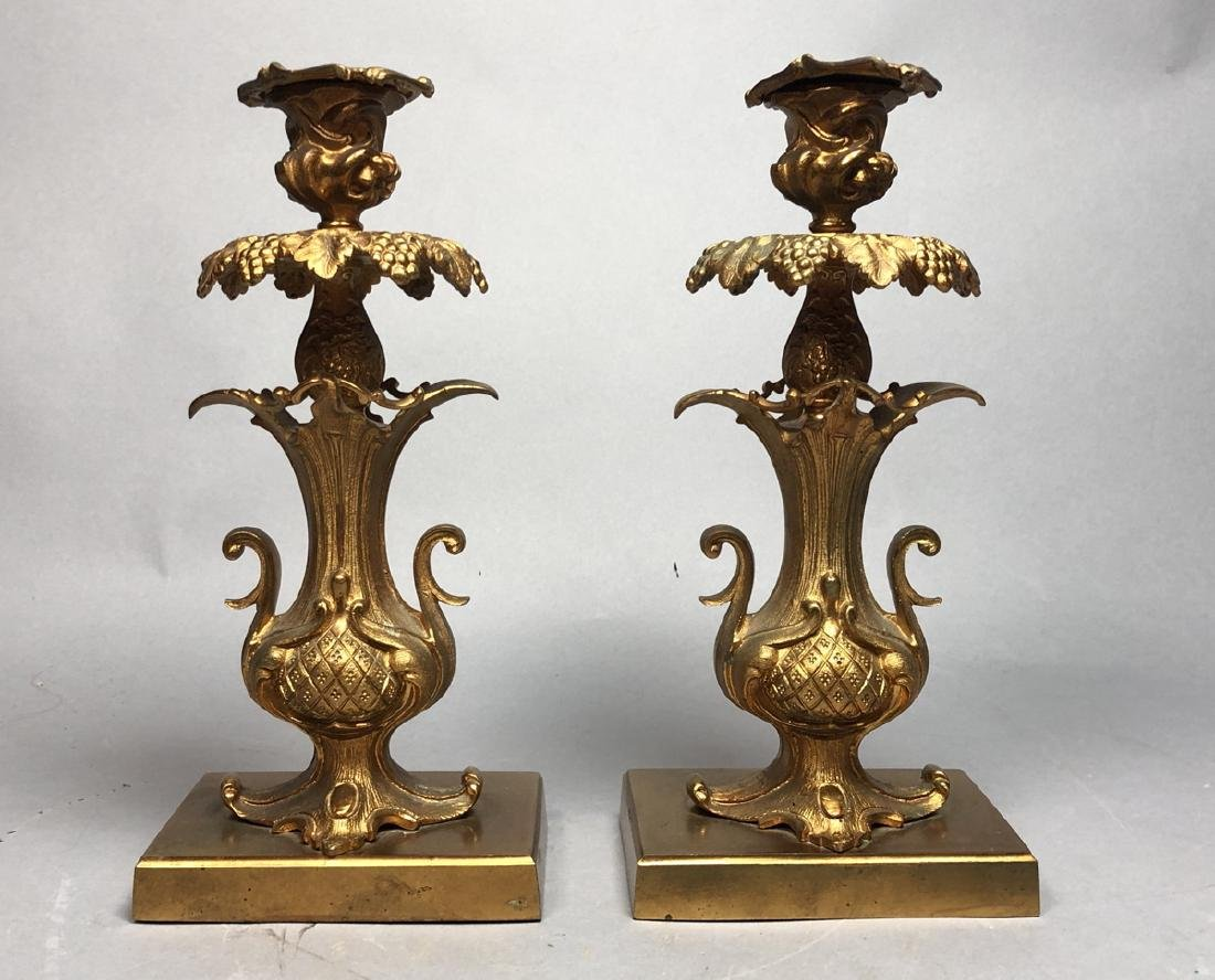 Pr Fancy Gilt Metal Candle Sticks. Floral & grape