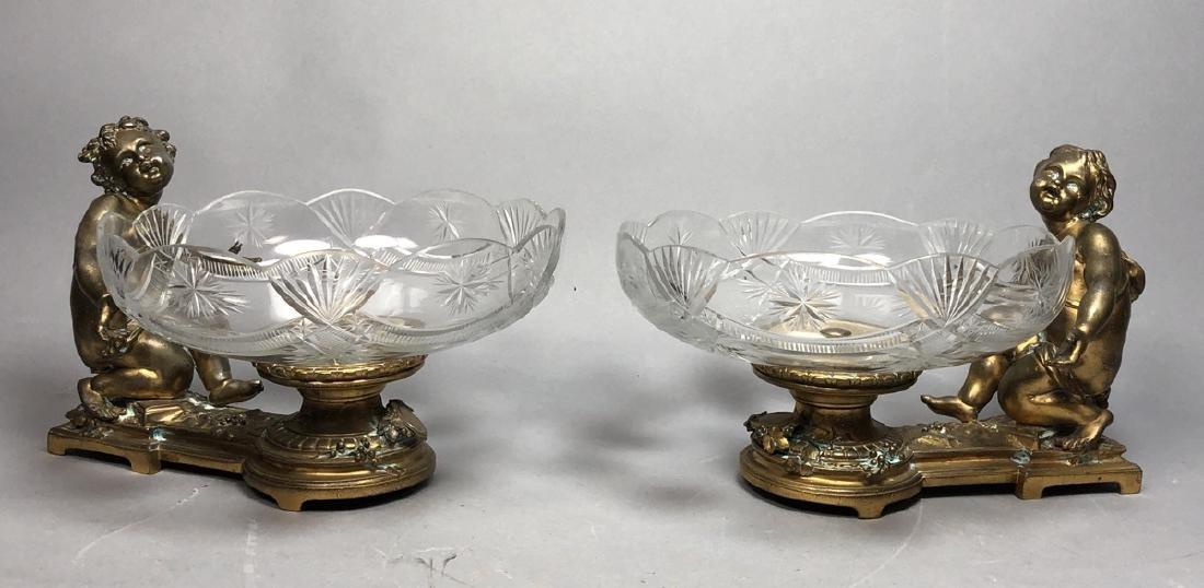 Pr CHRISTOFLE Cherub & Engraved Crystal Centerpie