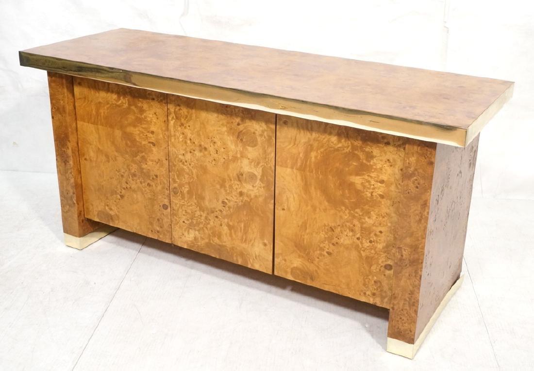 Modern Burl Wood Brass Trim Credenza Sideboard. B