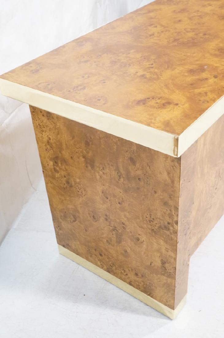 Modern Burl Wood Brass Trim Credenza Sideboard. B - 2