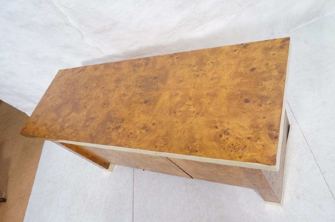 Modern Burl Wood Brass Trim Credenza Sideboard. B - 4