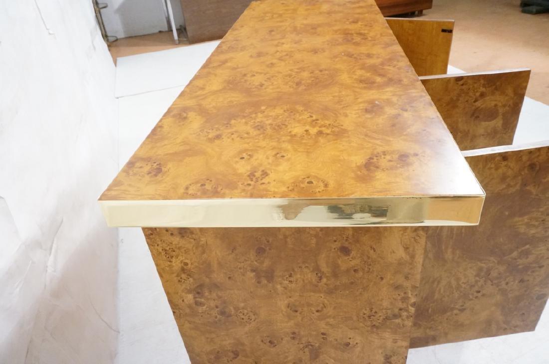 Modern Burl Wood Brass Trim Credenza Sideboard. B - 8