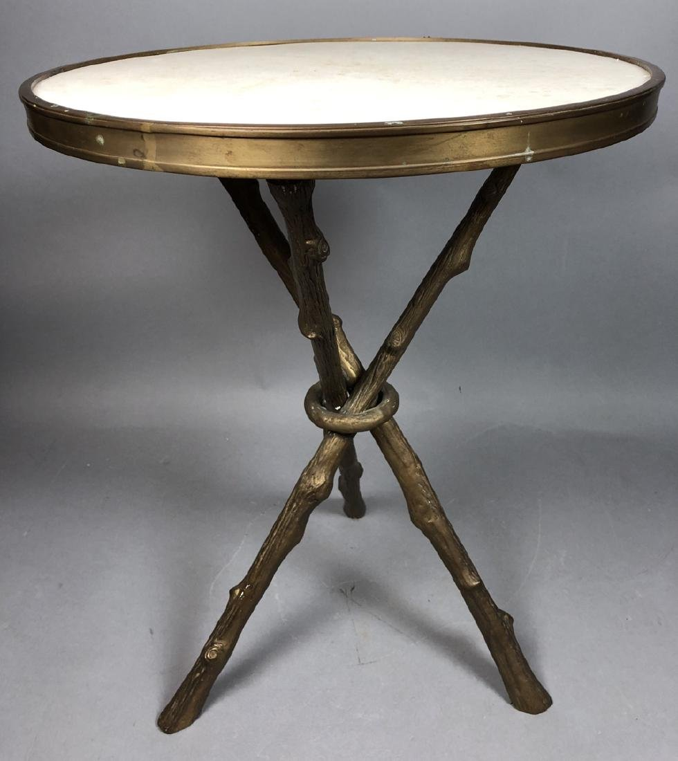 Brass Twig Form Marble Round Tabouret Table. Trip