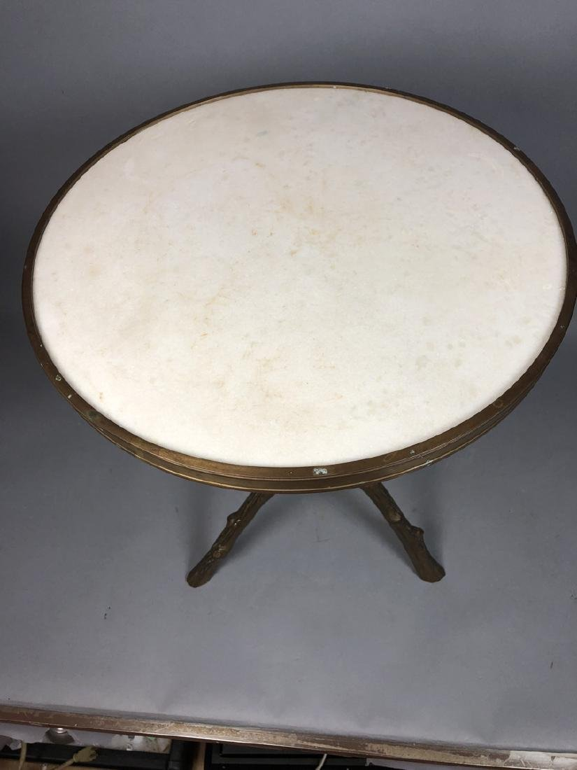 Brass Twig Form Marble Round Tabouret Table. Trip - 2