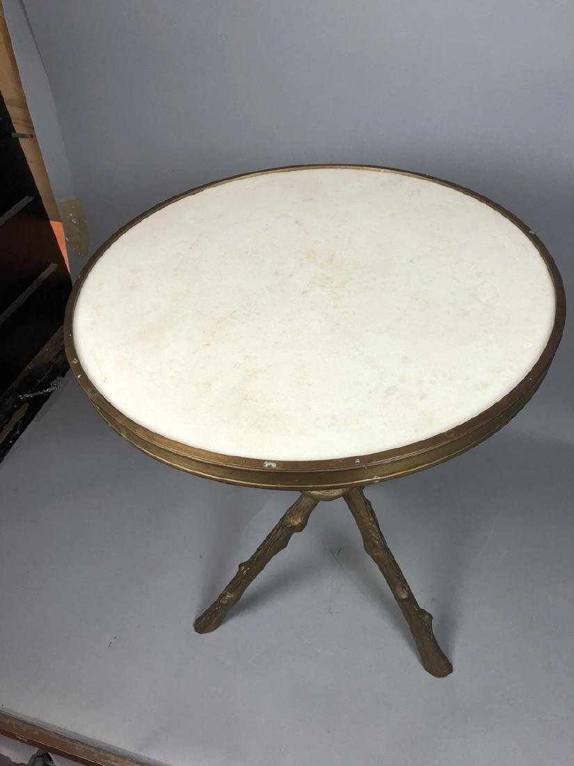 Brass Twig Form Marble Round Tabouret Table. Trip - 6