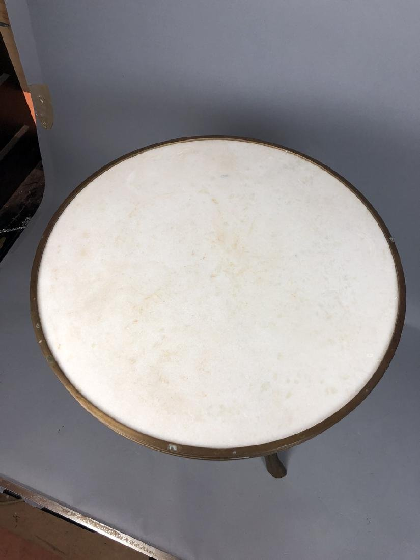 Brass Twig Form Marble Round Tabouret Table. Trip - 8