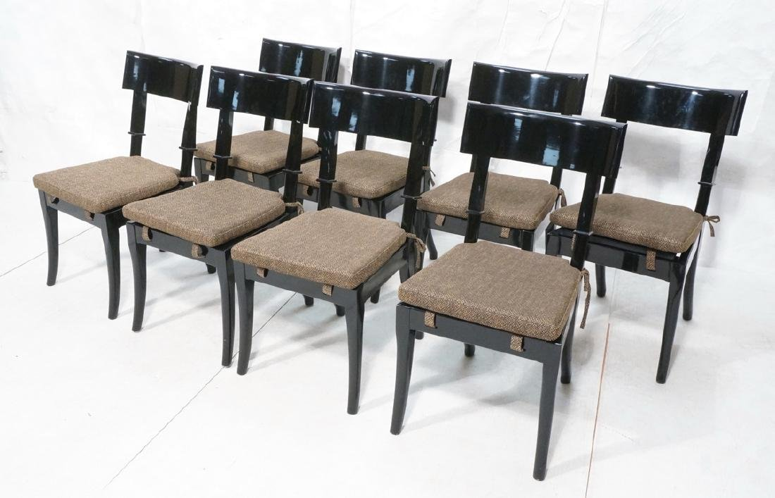 8 Black Lacquer Decorator Klismos Dining Chairs.