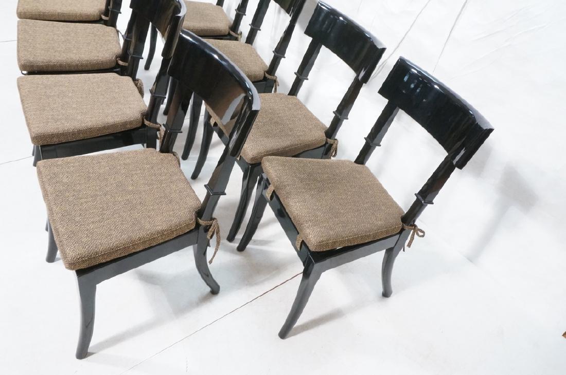 8 Black Lacquer Decorator Klismos Dining Chairs. - 2